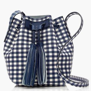 J. Crew Bucket New Gingham Mini Leather Bag
